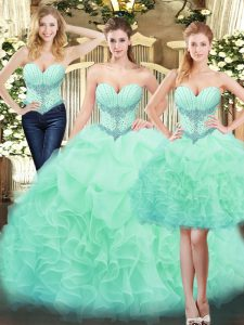 Beauteous Apple Green Organza Lace Up Sweetheart Sleeveless Floor Length Quince Ball Gowns Beading and Ruffles