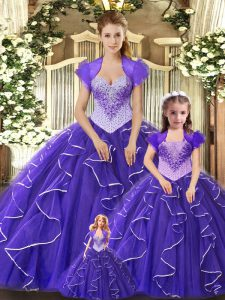 Discount Beading and Ruffles Sweet 16 Dresses Purple Lace Up Sleeveless Floor Length