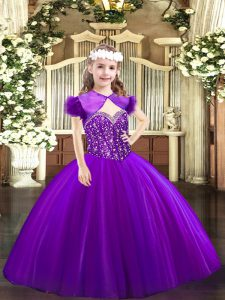Purple Sleeveless Floor Length Beading Lace Up Pageant Dress for Teens