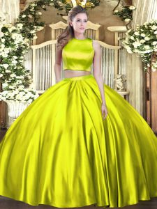 Custom Designed Olive Green Tulle Criss Cross High-neck Sleeveless Floor Length Quinceanera Gowns Ruching