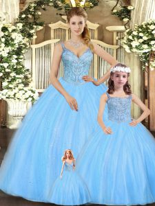 Turquoise Tulle Lace Up Quinceanera Gowns Sleeveless Floor Length Beading