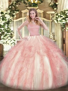 Pink 15th Birthday Dress Military Ball and Sweet 16 and Quinceanera with Beading and Ruffles Straps Sleeveless Zipper