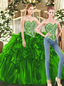 Attractive Dark Green Sleeveless Floor Length Beading and Ruffles Lace Up Sweet 16 Quinceanera Dress