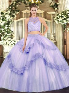 Scoop Sleeveless Zipper Quinceanera Gowns Lavender Tulle