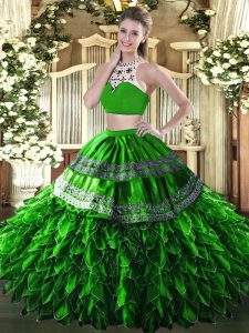 Elegant Green Quinceanera Gowns Military Ball and Sweet 16 and Quinceanera with Beading and Ruffles High-neck Sleeveless Backless