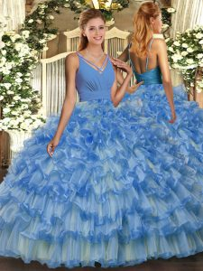 Blue V-neck Backless Ruffled Layers Quinceanera Dresses Sleeveless