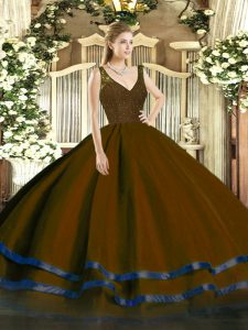 Brown Backless V-neck Beading and Lace and Ruffled Layers 15 Quinceanera Dress Organza Sleeveless