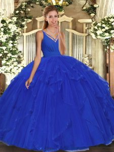 Luxurious Blue Ball Gowns V-neck Sleeveless Tulle Floor Length Backless Beading and Ruffles Sweet 16 Dresses