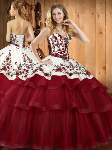 Suitable Wine Red Sweetheart Neckline Embroidery Quinceanera Gowns Sleeveless Lace Up