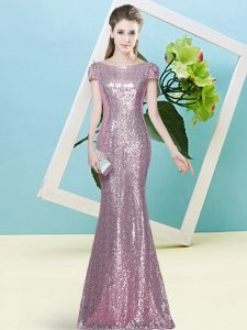Floor Length Pink Dress for Prom Scoop Cap Sleeves Zipper
