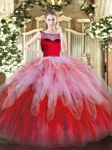 High Quality Scoop Sleeveless Zipper Quinceanera Gown Multi-color Organza