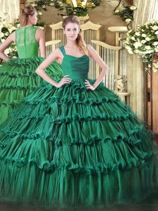 Glorious Straps Sleeveless Organza Sweet 16 Quinceanera Dress Ruffled Layers Zipper