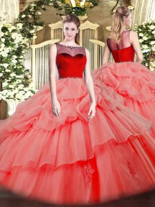 Smart Watermelon Red Vestidos de Quinceanera Sweet 16 and Quinceanera with Beading and Appliques Scoop Sleeveless Zipper