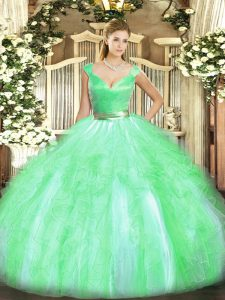 Cheap Floor Length Apple Green 15th Birthday Dress V-neck Sleeveless Zipper