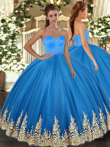Ball Gowns Quinceanera Dresses Blue Sweetheart Tulle Sleeveless Floor Length Lace Up