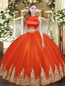 Superior Floor Length Red Quinceanera Dresses High-neck Sleeveless Criss Cross