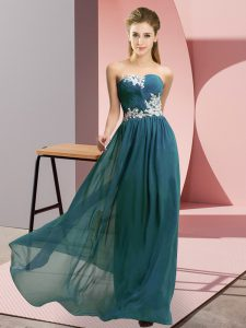 Teal Chiffon Lace Up Prom Party Dress Sleeveless Floor Length Appliques