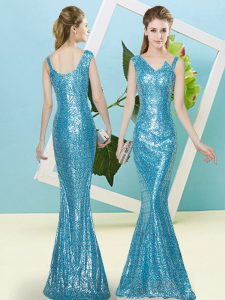 Baby Blue Zipper Asymmetric Sequins Prom Dress Sequined Sleeveless