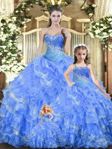 Tulle Sweetheart Sleeveless Lace Up Beading and Ruffles and Ruching 15 Quinceanera Dress in Baby Blue