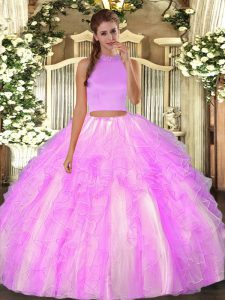Sumptuous Lilac Two Pieces Halter Top Sleeveless Organza Floor Length Backless Beading and Ruffles Quince Ball Gowns