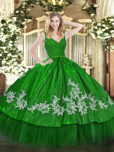 Dramatic Green Taffeta Backless Straps Sleeveless Floor Length Sweet 16 Dress Beading and Lace and Appliques