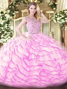 Sleeveless Beading and Ruffled Layers Zipper 15 Quinceanera Dress with Lilac Sweep Train