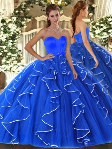 Eye-catching Blue Lace Up Sweetheart Beading and Ruffles Vestidos de Quinceanera Organza Sleeveless