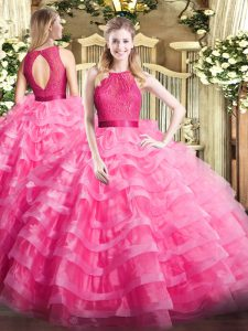 Hot Pink Sleeveless Ruffled Layers Floor Length Quinceanera Dresses