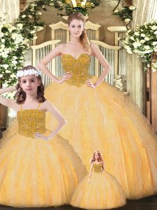Pretty Sleeveless Tulle Floor Length Lace Up 15th Birthday Dress in Gold with Beading