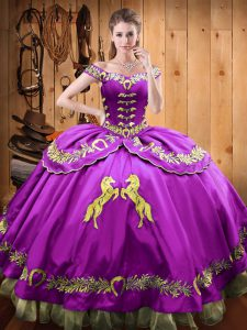 Fashion Eggplant Purple Off The Shoulder Neckline Beading and Embroidery Quinceanera Gown Sleeveless Lace Up