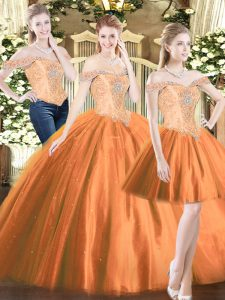 Orange Red Tulle Lace Up Ball Gown Prom Dress Sleeveless Floor Length Beading