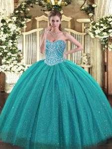 Admirable Tulle Sweetheart Sleeveless Lace Up Beading Quinceanera Gown in Turquoise