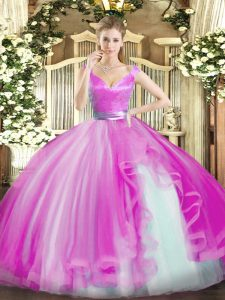 Cheap Tulle Sleeveless Floor Length Quinceanera Gowns and Beading and Ruffles