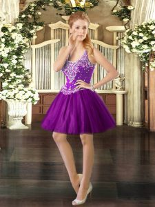 Artistic Purple Prom and Party with Beading Straps Sleeveless Lace Up