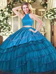 Ideal Floor Length Teal Quinceanera Gown Organza Sleeveless Beading and Embroidery and Ruffled Layers