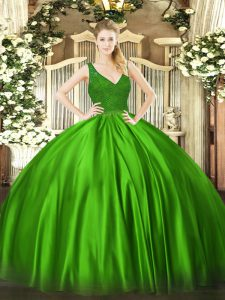 Dazzling Green Satin Backless V-neck Sleeveless Floor Length Ball Gown Prom Dress Beading and Lace