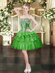 Cheap Green Sleeveless Beading and Ruffled Layers Mini Length Dress for Prom