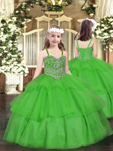 Sleeveless Organza Floor Length Lace Up Kids Formal Wear in Green with Beading and Ruffled Layers