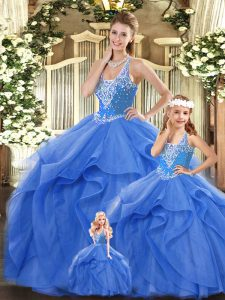 Glorious Blue Ball Gowns Straps Sleeveless Tulle Floor Length Lace Up Beading and Ruffles Sweet 16 Dresses