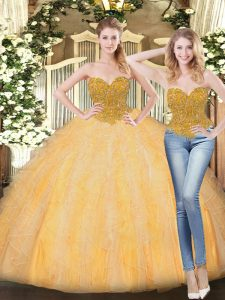 Fashion Floor Length Ball Gowns Sleeveless Gold Sweet 16 Dress Zipper