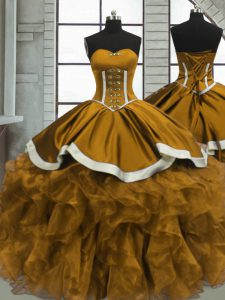 Beautiful Yellow Sleeveless Floor Length Beading and Ruffles Lace Up Quinceanera Dresses