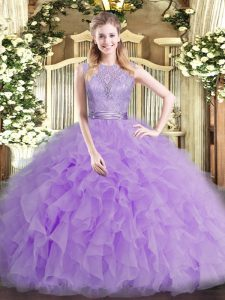 Lavender Tulle Backless Quince Ball Gowns Sleeveless Floor Length Beading and Ruffles