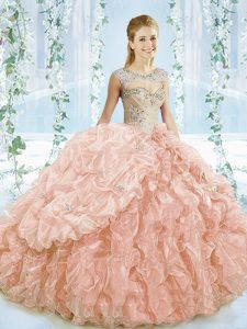Cute Ball Gowns Sleeveless Peach 15 Quinceanera Dress Brush Train Lace Up