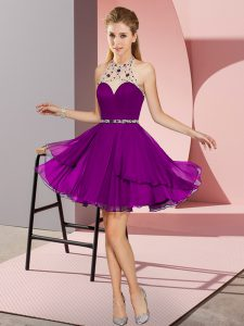 Mini Length Empire Sleeveless Dark Purple Dress for Prom Zipper