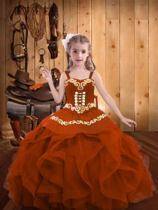 Rust Red Ball Gowns Embroidery and Ruffles Kids Formal Wear Lace Up Organza Sleeveless Floor Length
