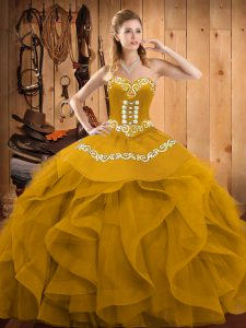 Gold Organza Lace Up Sweet 16 Dresses Sleeveless Floor Length Embroidery and Ruffles