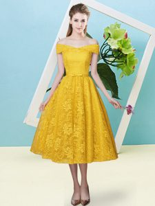 Charming Gold Empire Bowknot Quinceanera Court of Honor Dress Lace Up Lace Cap Sleeves Tea Length