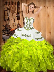 Exquisite Yellow Green Satin and Organza Lace Up Strapless Sleeveless Floor Length Sweet 16 Quinceanera Dress Embroidery and Ruffles