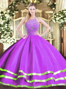 Tulle Halter Top Sleeveless Zipper Beading 15 Quinceanera Dress in Eggplant Purple