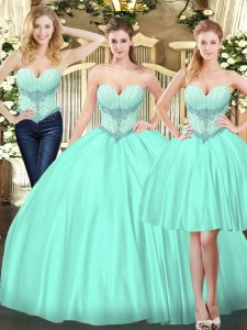 Elegant Sleeveless Lace Up 15 Quinceanera Dress Apple Green Tulle
